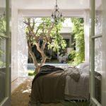 dormitorio para el verano- dormitorio con jardín