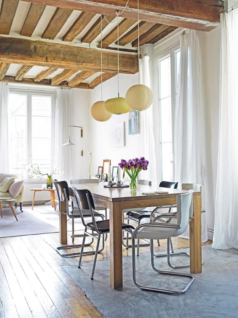 decoración de pisos antiguos - vigas de madera