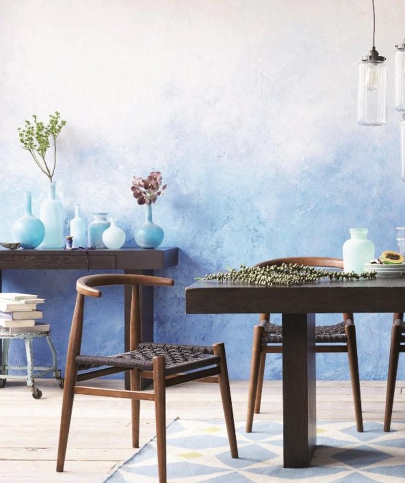 jarrones modernos en tonos azules