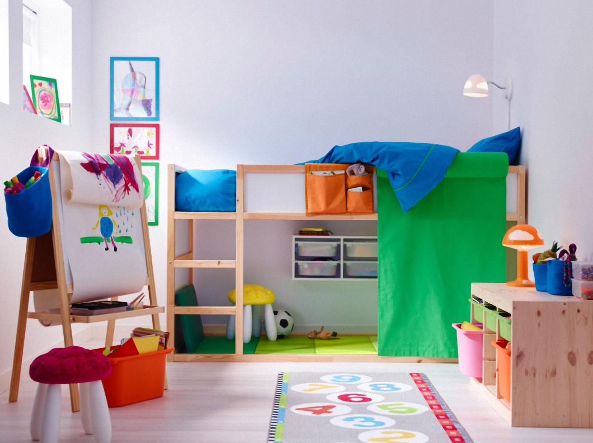 dormitorios infantiles de ikea en azul y verde
