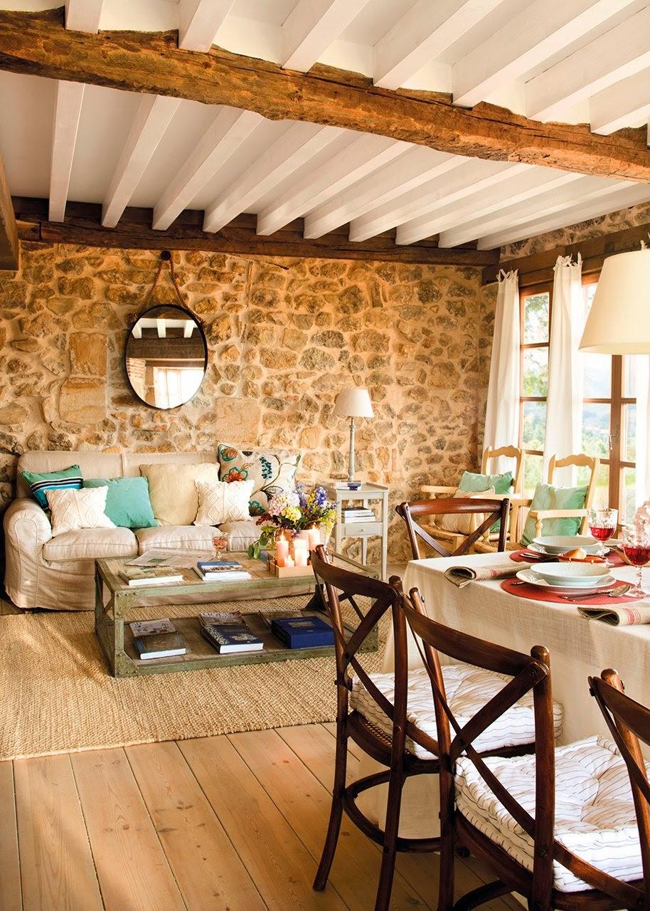 Cómo decorar una casa rústica - muro de piedra