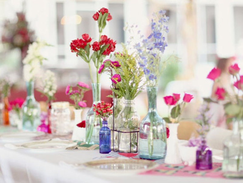 reciclar tarros de cristal para floreros