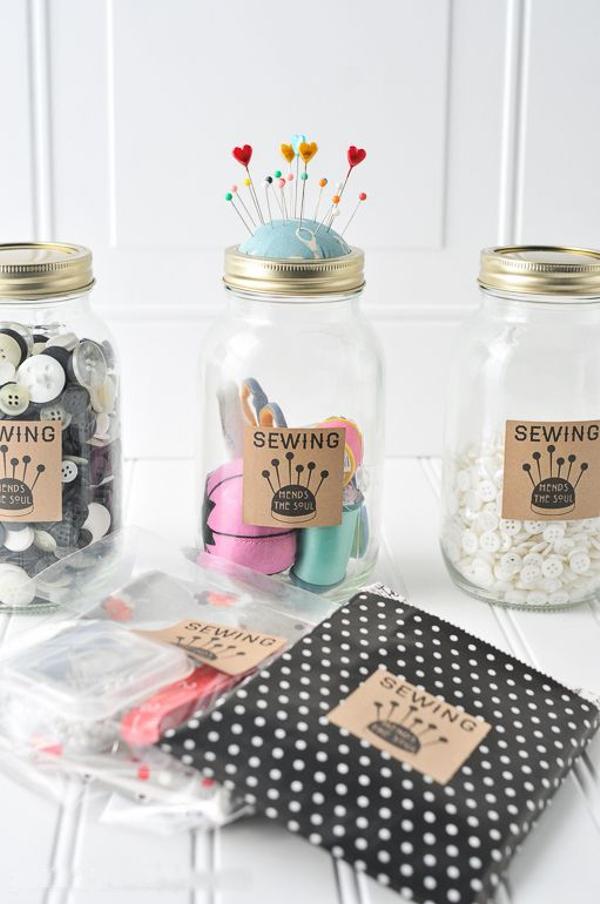reciclar tarros de cristal como costurero