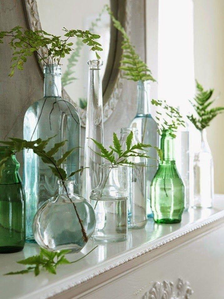 reciclar tarros de cristal en tonos verdes