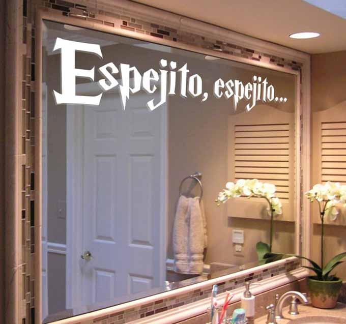 vinilos decorativos para baño - en espejo grande