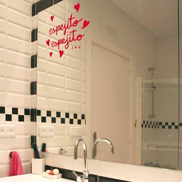 vinilos decorativos para baño - en el espejo