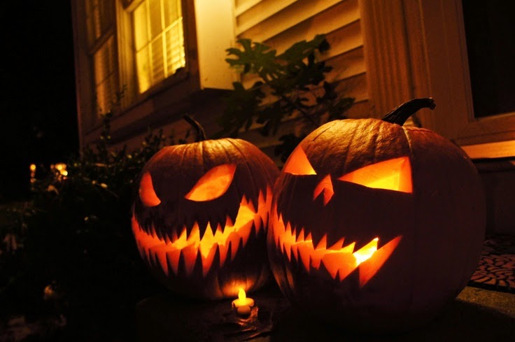 decoración de Halloween casera con calabazas