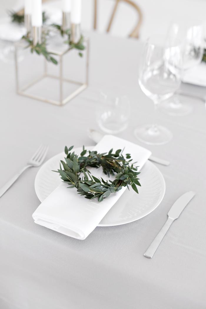 decoración de mesas de Navidad natural