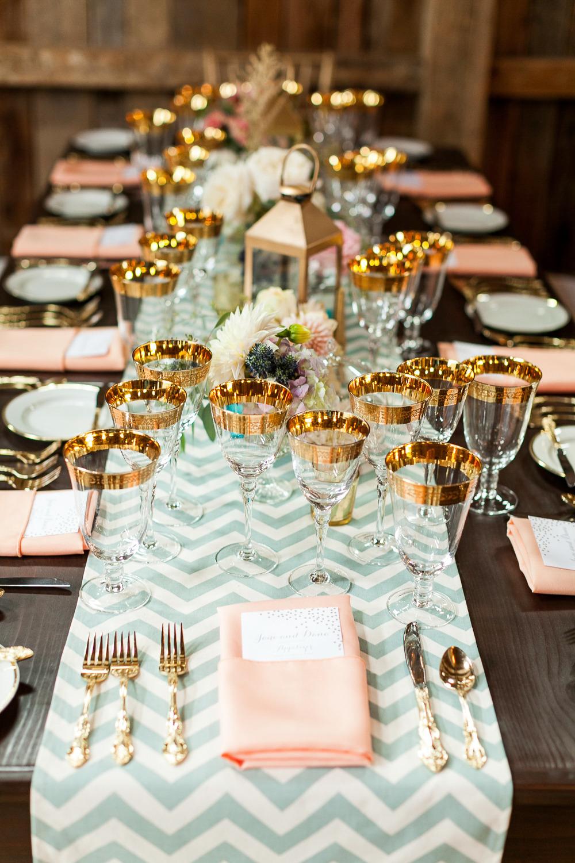 decoración de mesas de Navidad - cristalería