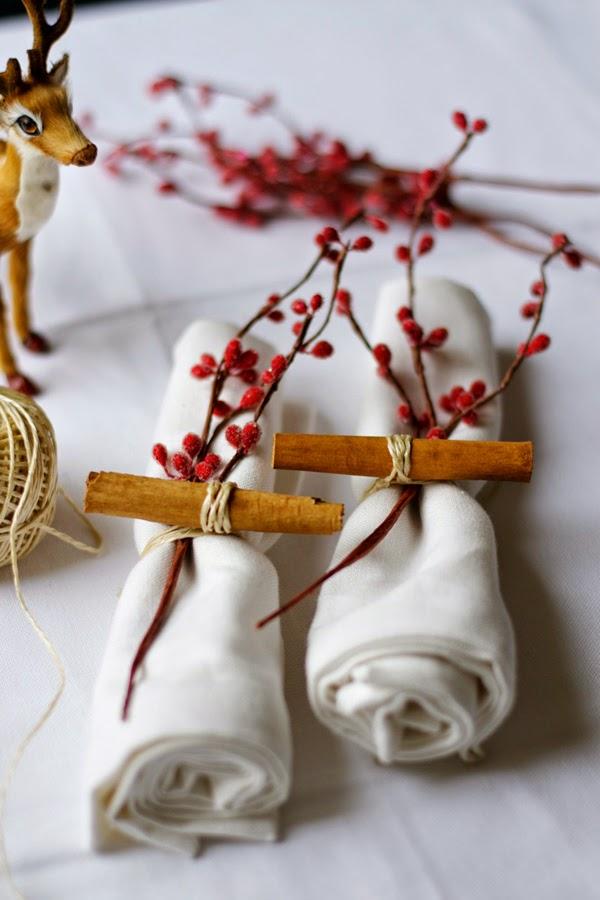 decoración de mesas de Navidad con canela