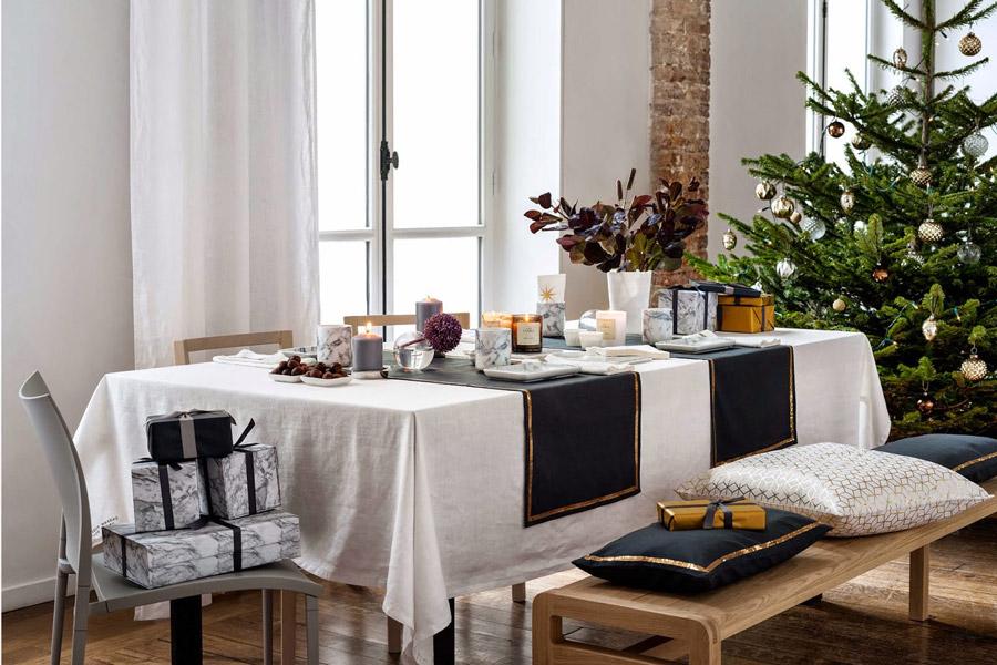 decoración de mesas de Navidad - camino de mesa