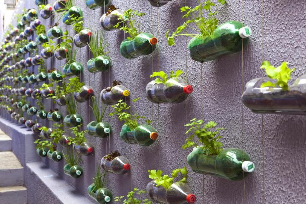 jardín vertical - botellas horizontales