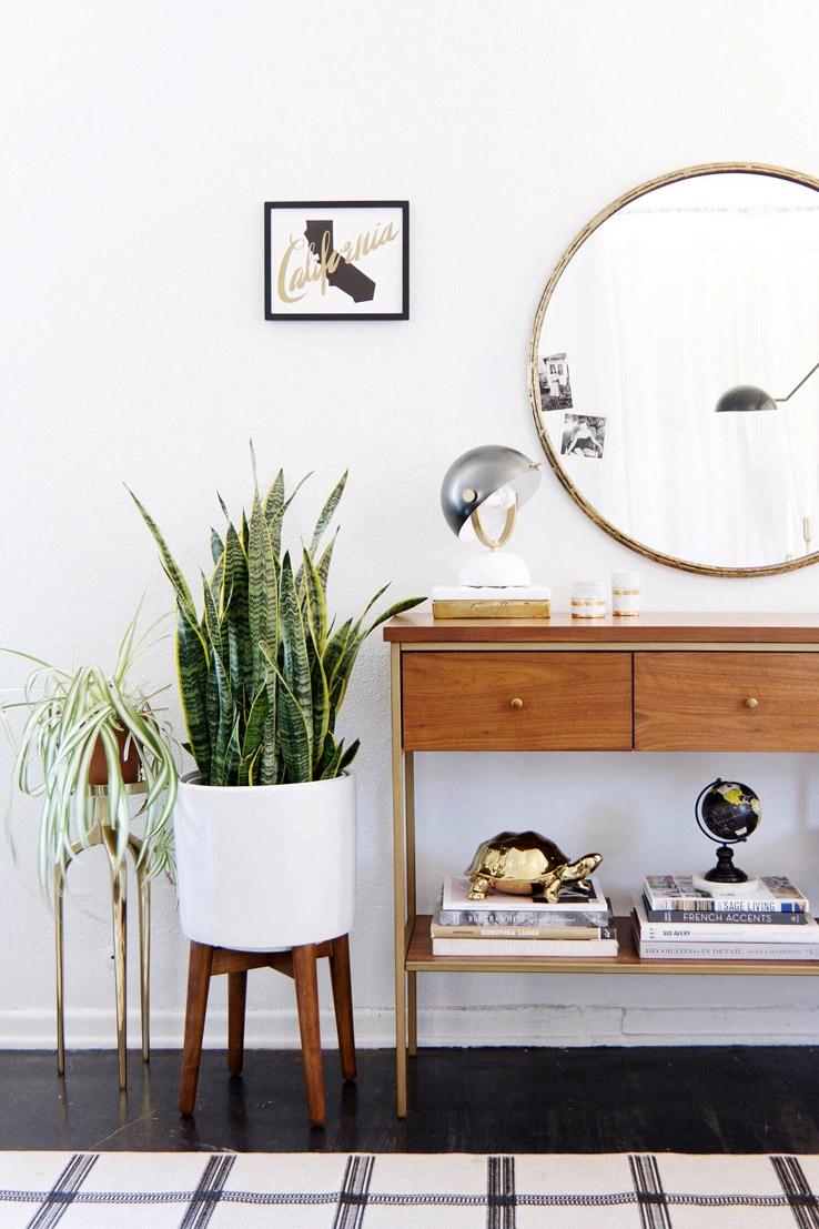 mueble de entrada - espejo redondo