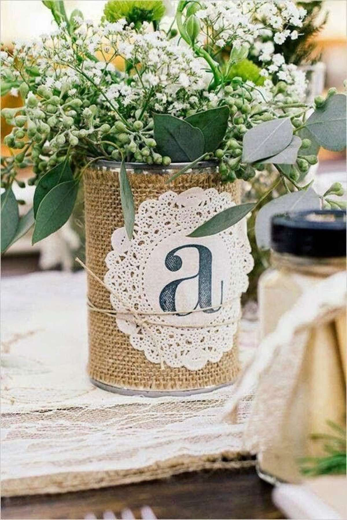 reciclar latas de conserva con tela arpillera