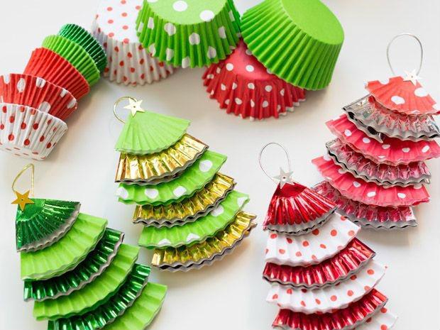adornos de Navidad fáciles de hacer - pinos navideños
