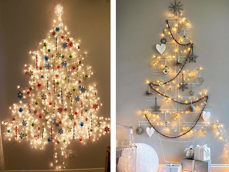 árboles de Navidad originales en la pared