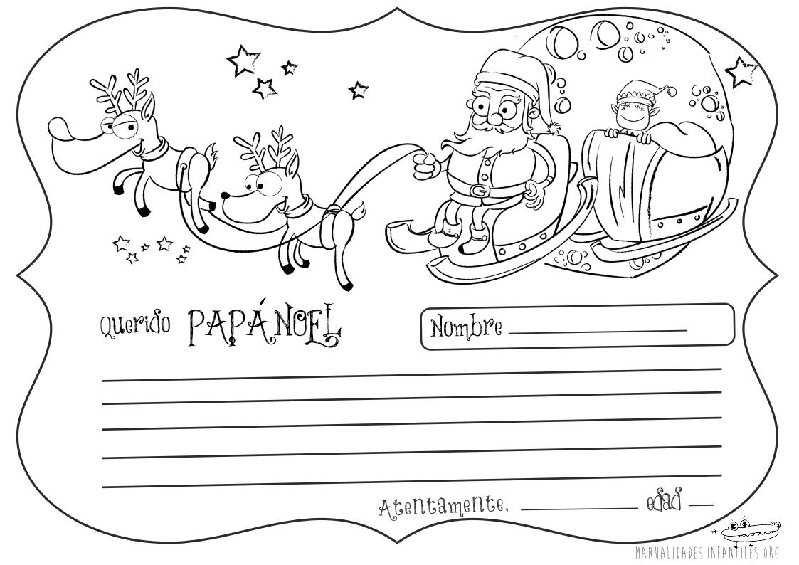 carta de Papá Noel para colorear