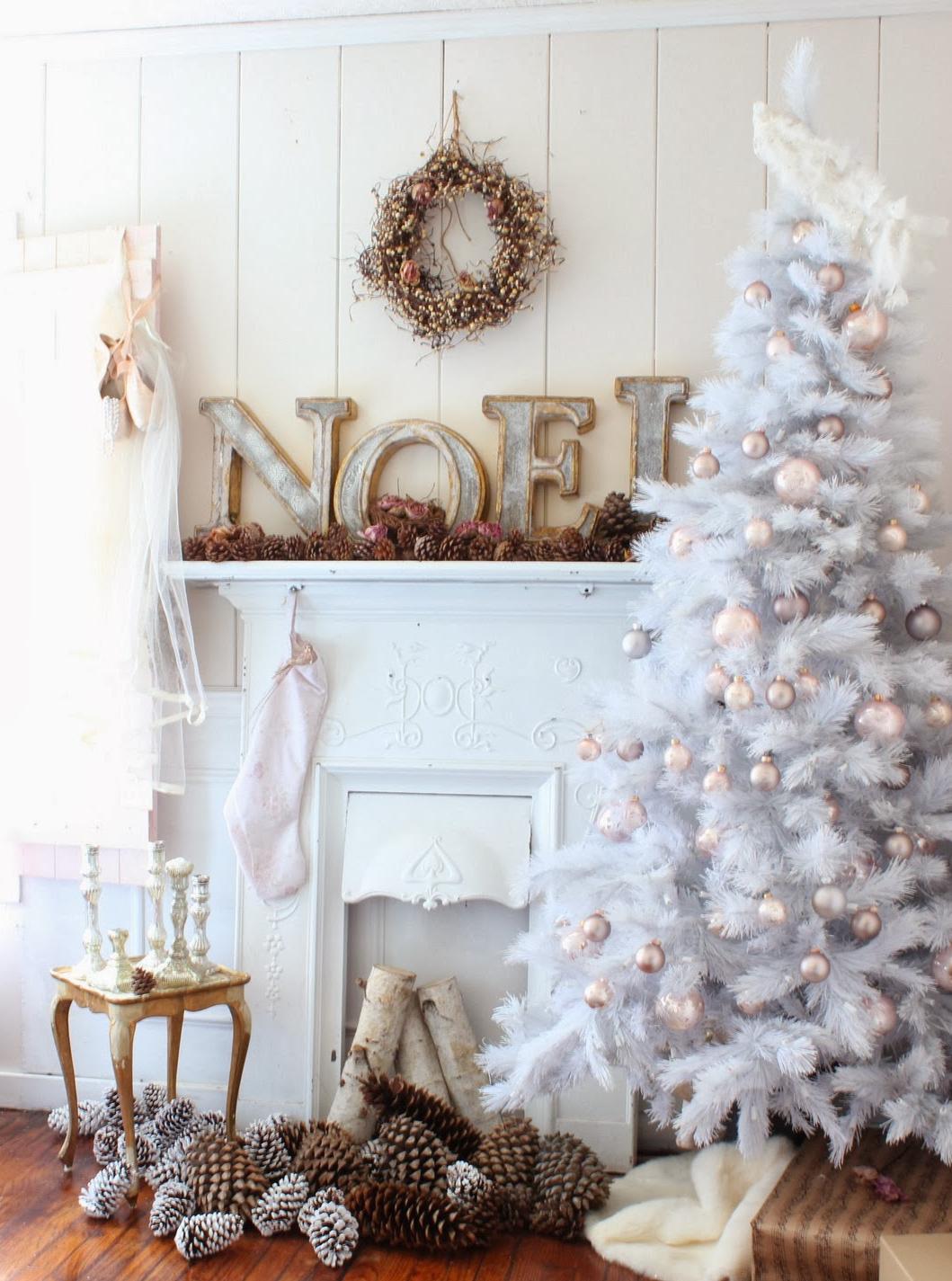 árbol de Navidad blanco - complementos