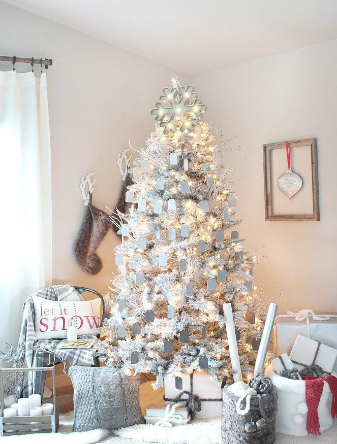 árbol de Navidad blanco - luces