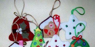 adornos navideños en fieltro - sencillos