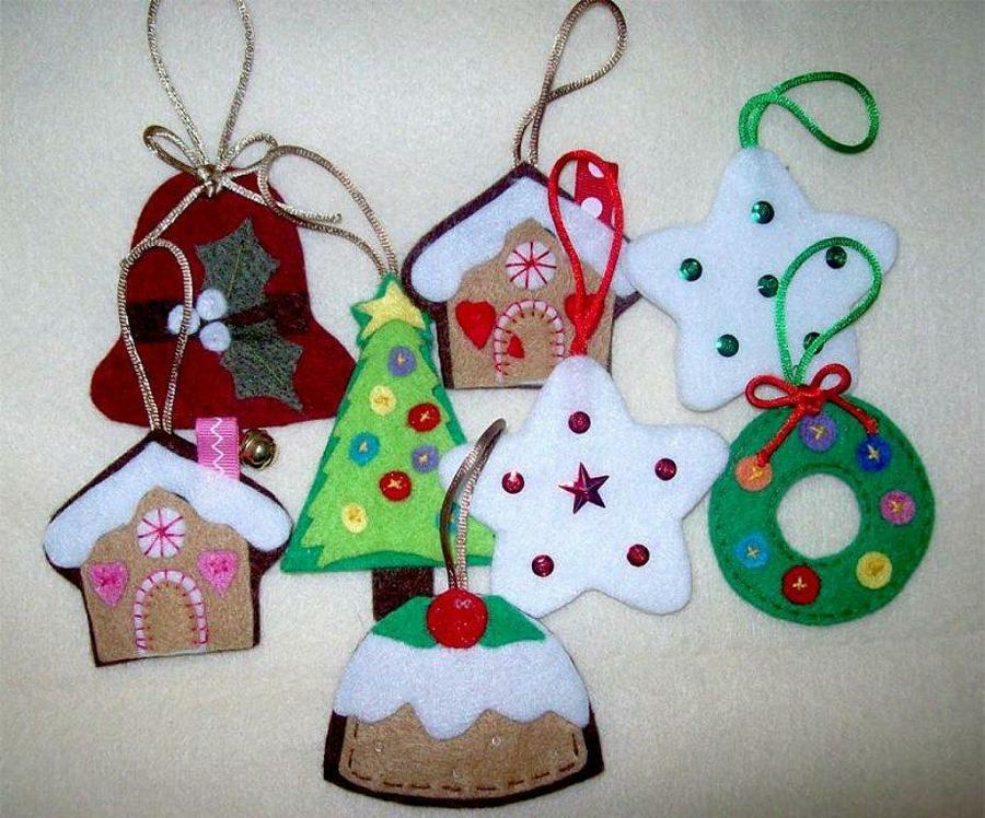 adornos navideños en fieltro - Árboles de Navidad