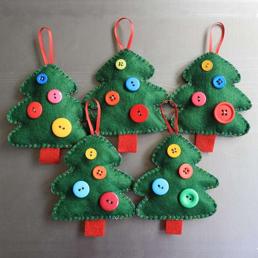 adornos navideños en fieltro - árboles