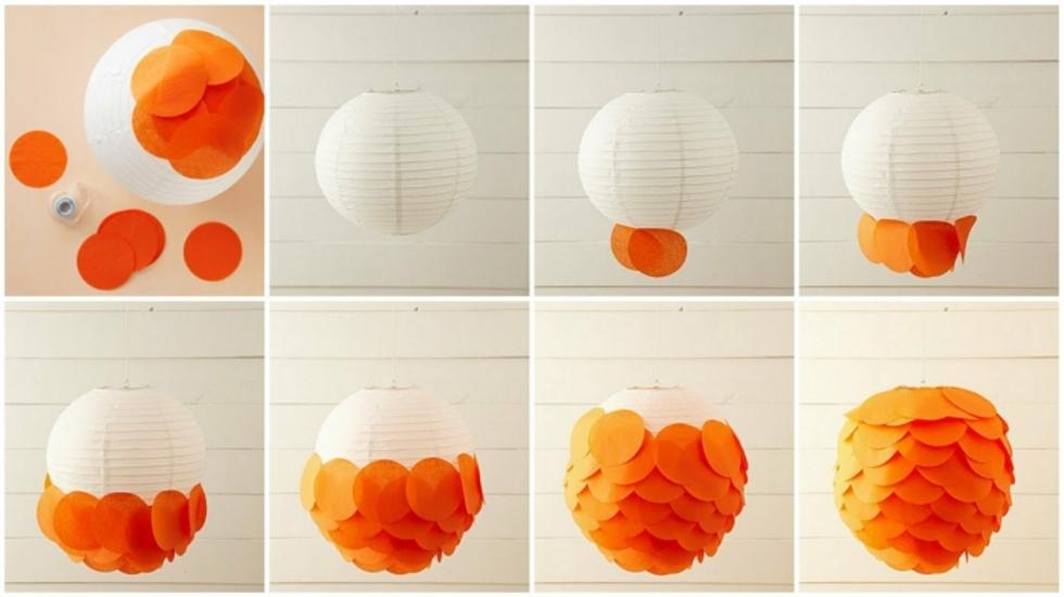 pantallas para lámparas de papel - pasos a seguir
