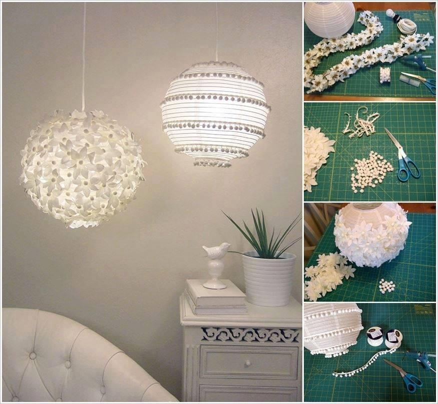 pantallas para lámparas de papel con flores y pompones