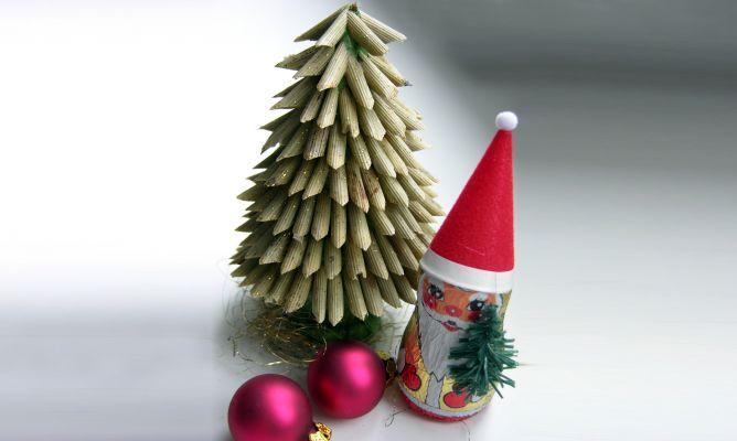 árbol de Navidad casero con macarrones