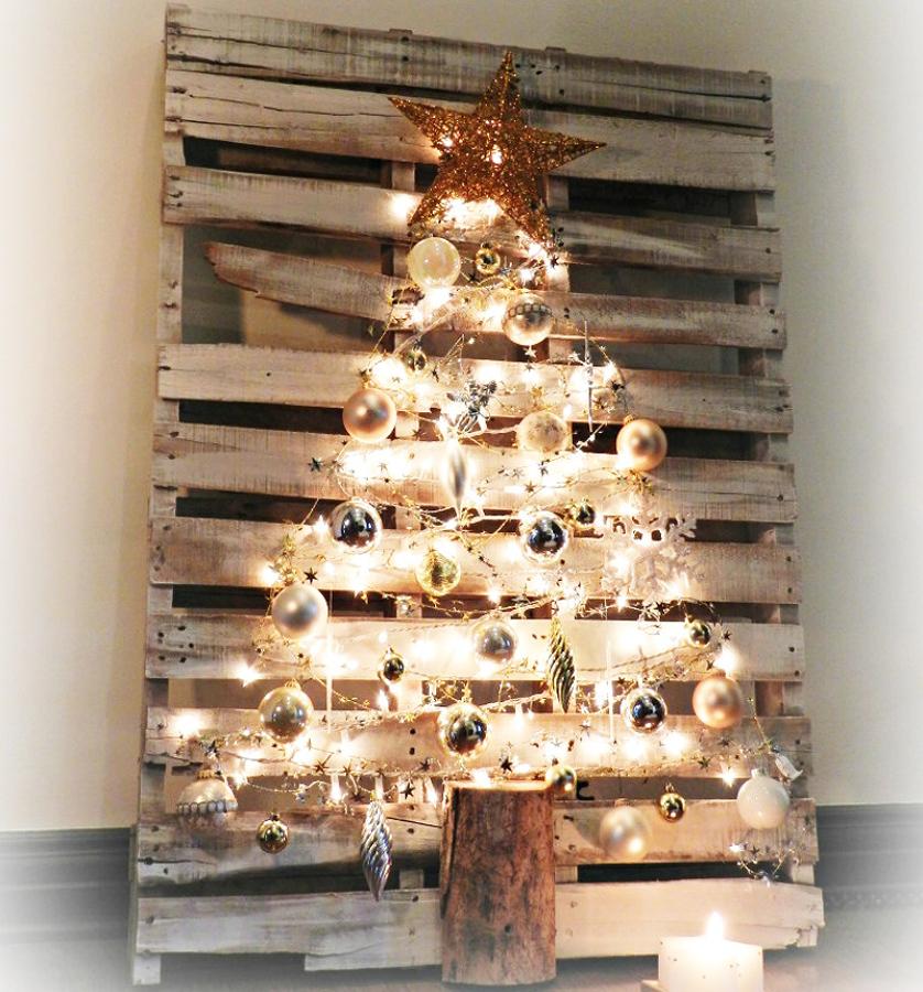árbol de Navidad casero con palet