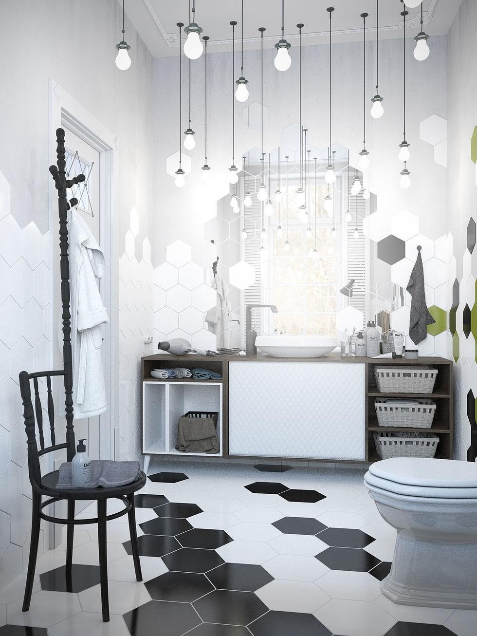 baños originales - bombillas colgantes