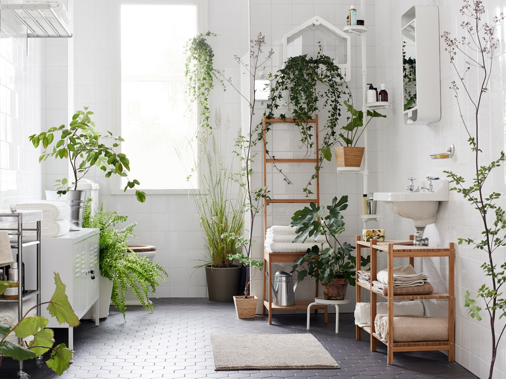 baños originales con plantas