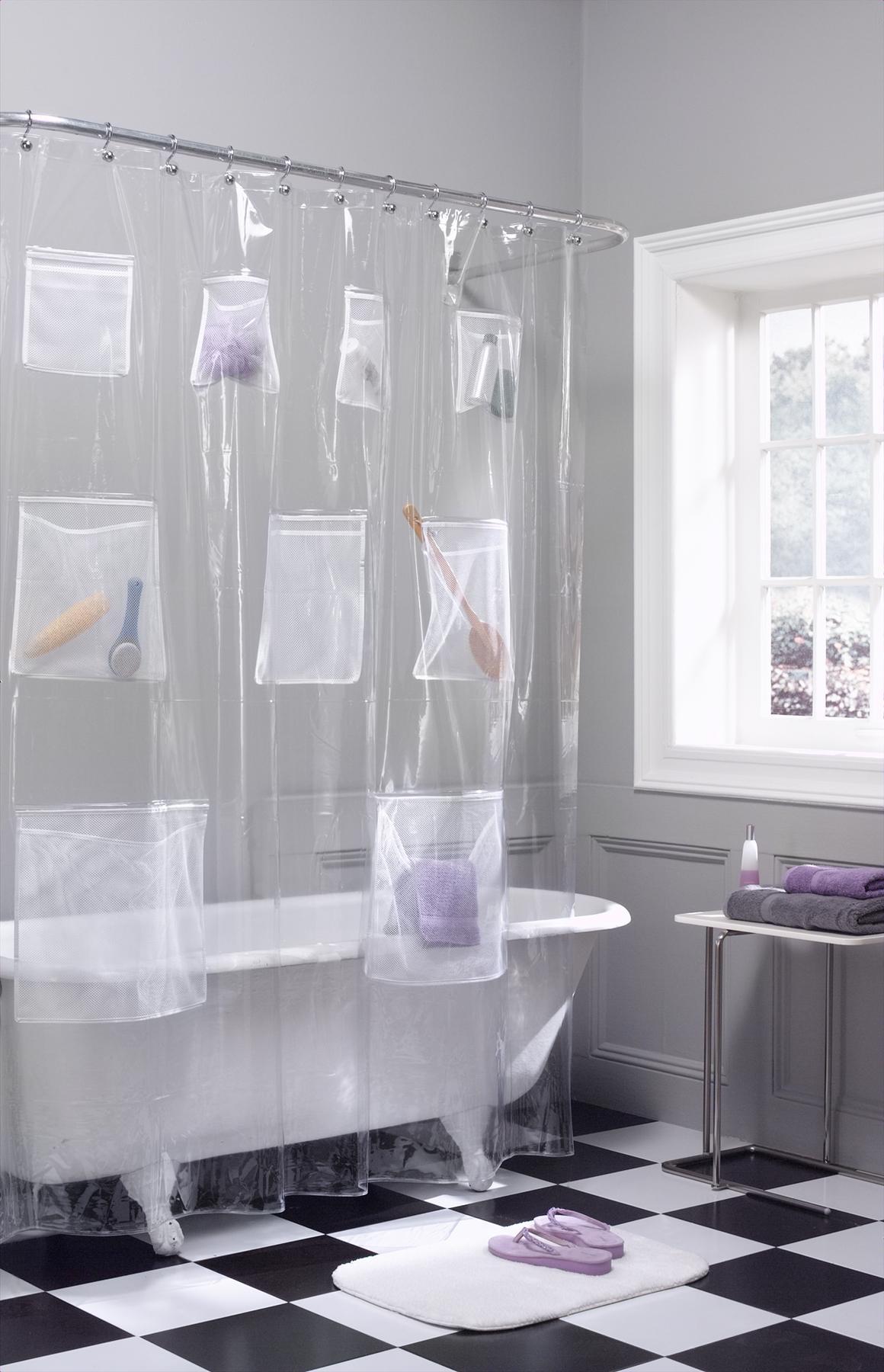 cortinas de baño divertidas con bolsillos