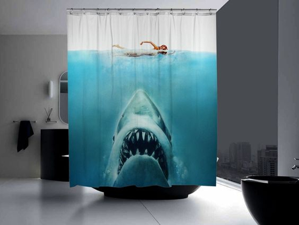 cortinas de baño divertidas - Película Tiburón