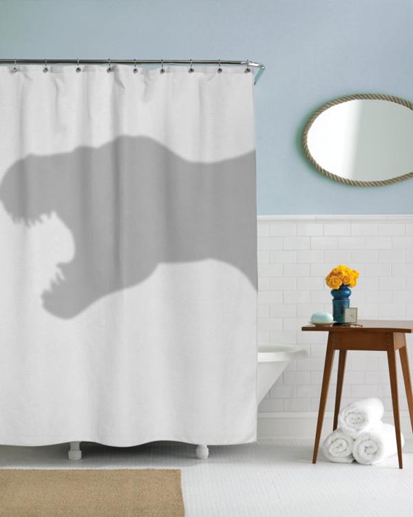 cortinas de baño divertidas - Dinosaurio Trex