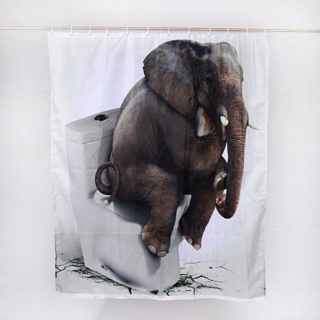 cortinas de baño divertidas - Simpático elefante