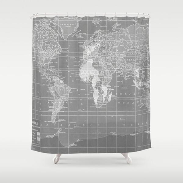 cortinas de baño divertidas - Mapa del mundo