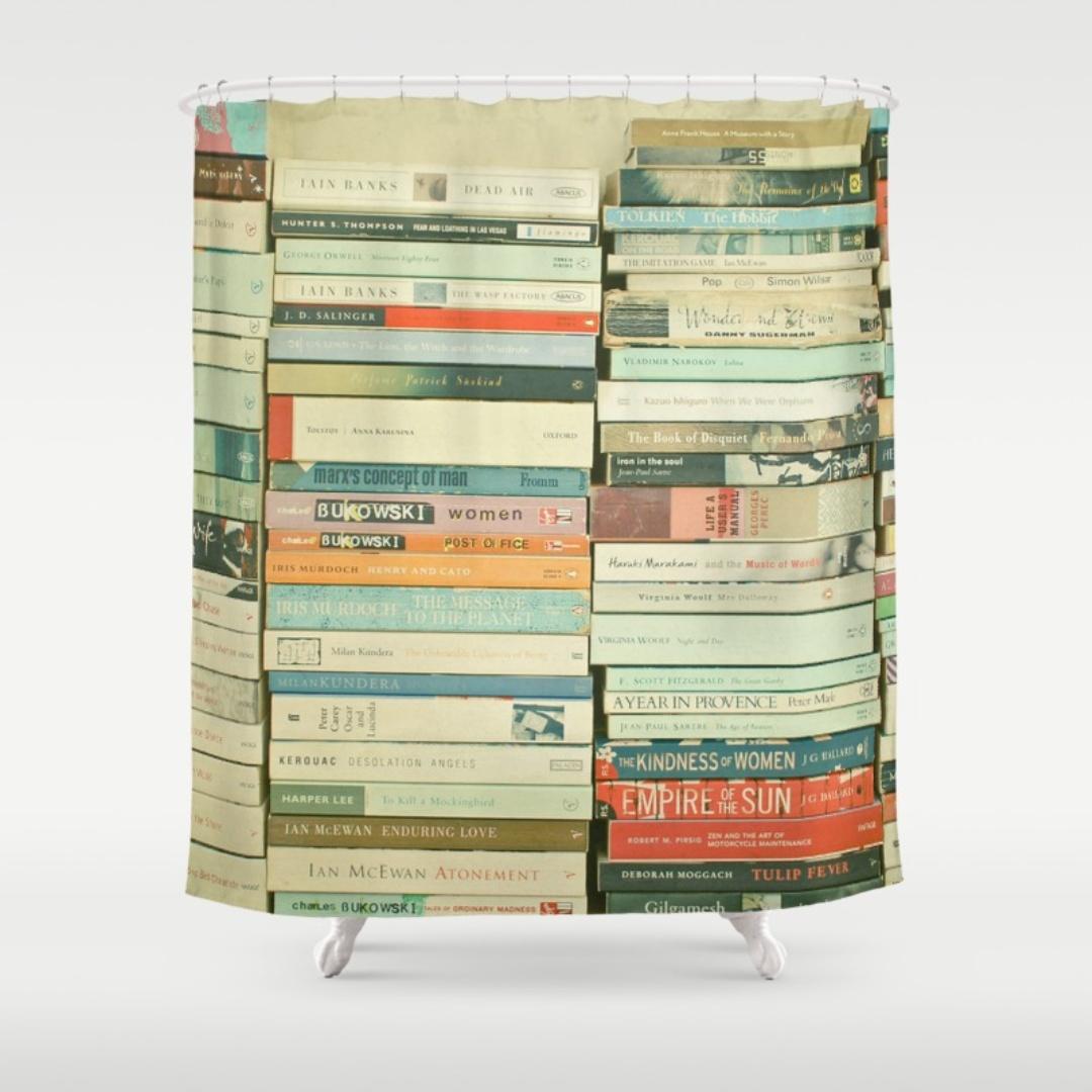 cortinas de baño divertidas - Cortina de libros