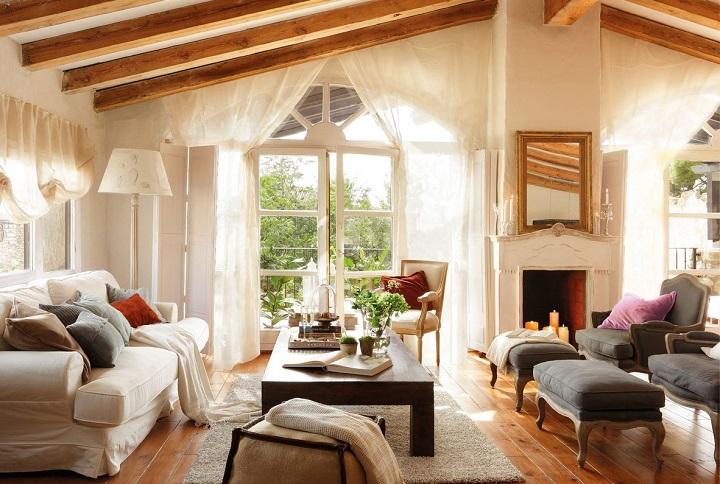 decoración de las casas rústicas - vigas de madera