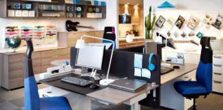 mobiliario de oficina - sillones azules