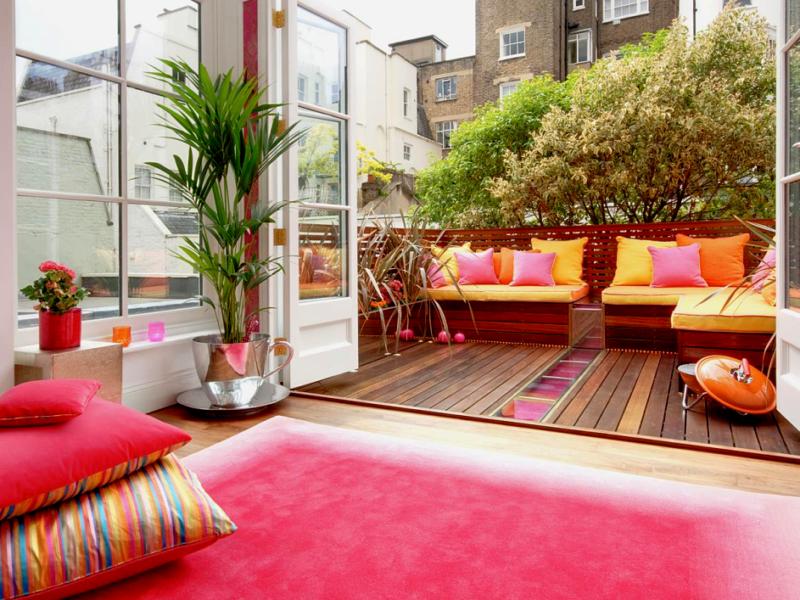 Decoración de terrazas en tonos alegres