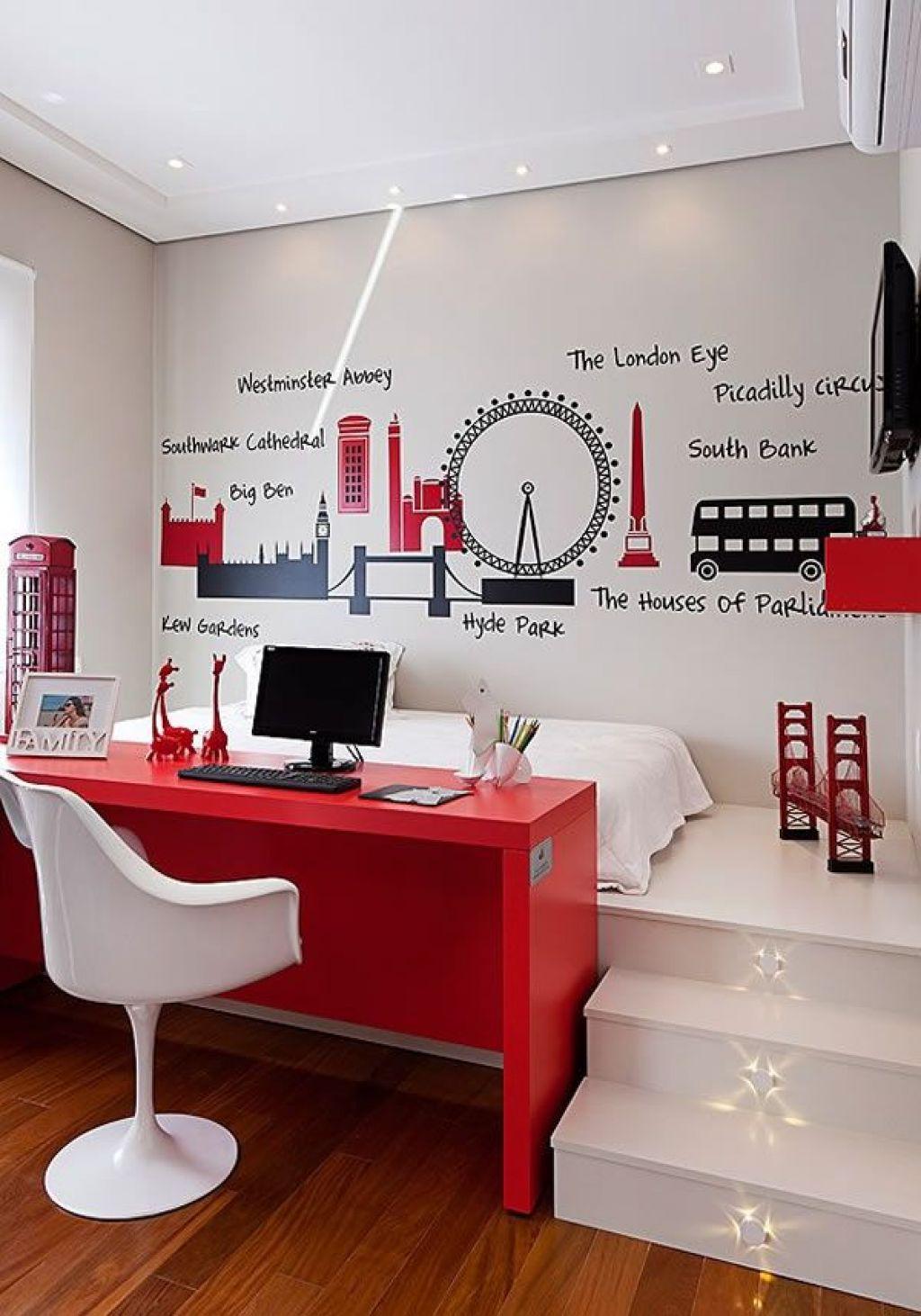 Dormitorios juveniles modernos en tonos rojos