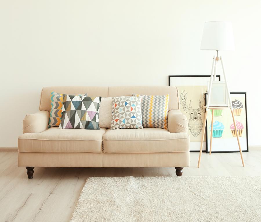 Decoración de interiores - textiles con formas geométricas