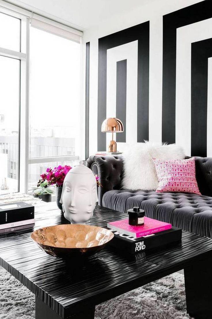Salón en blanco y negro - papel pintado