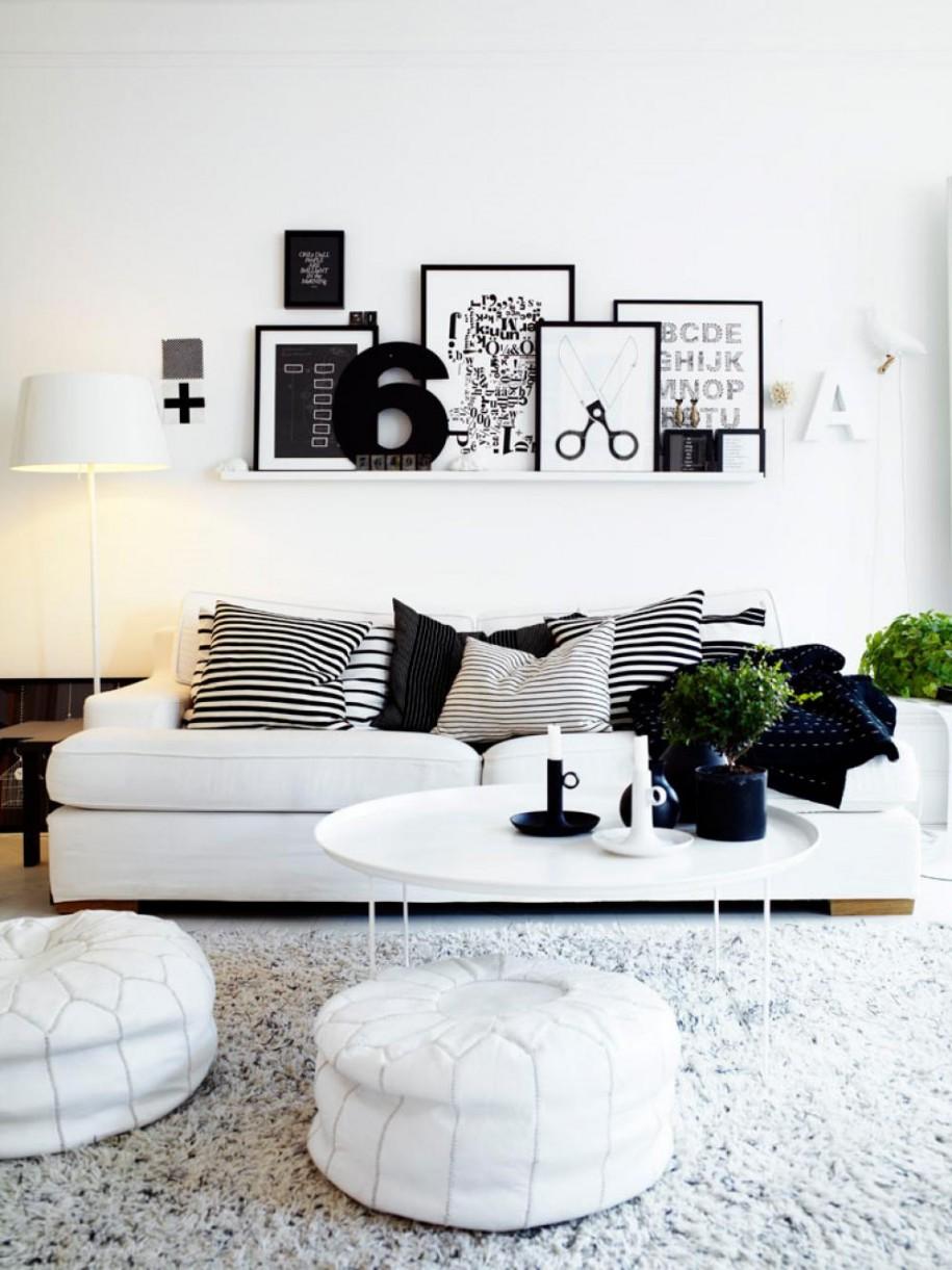Salón en blanco y negro - sofá blanco