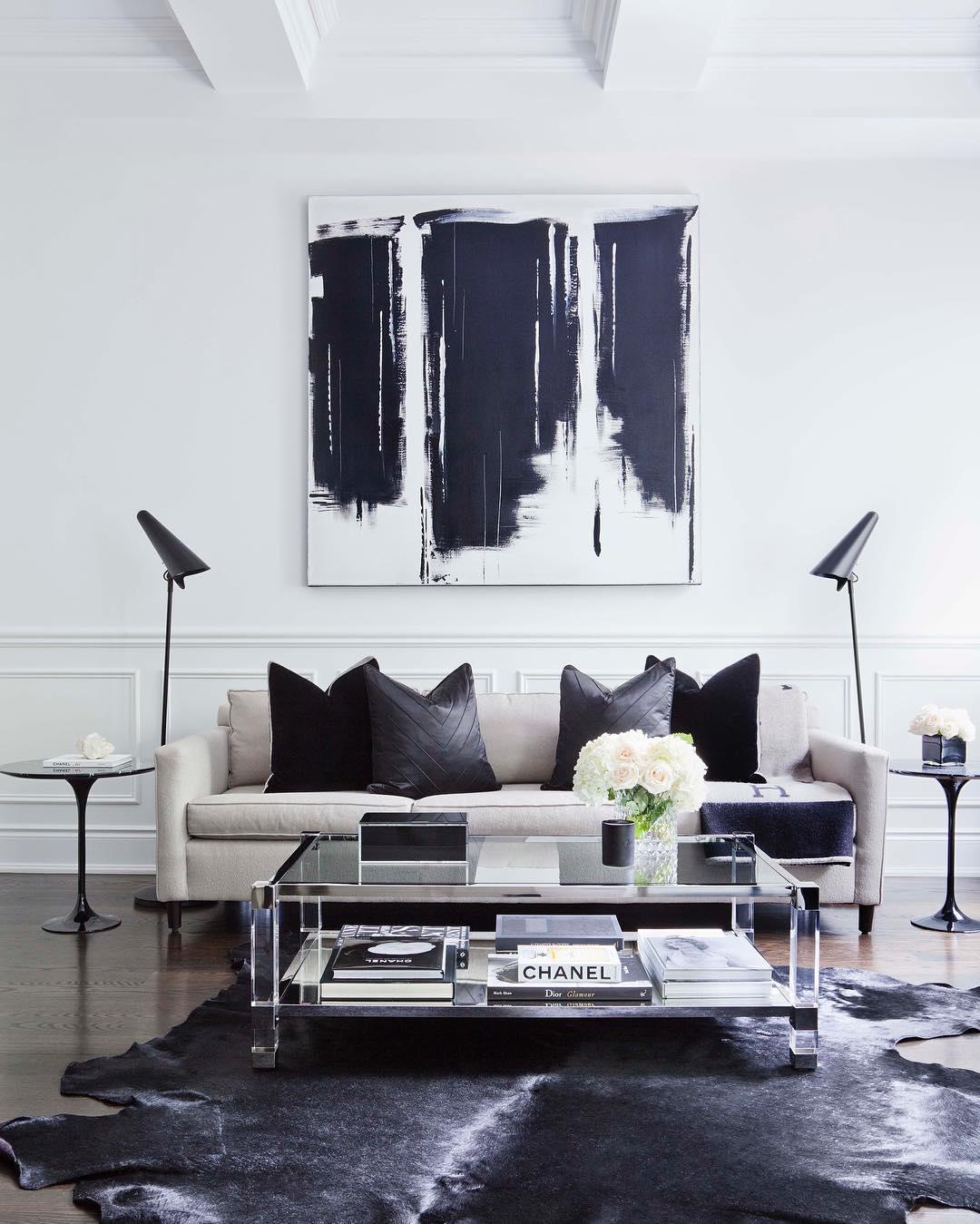 Salón en blanco y negro - estilo moderno