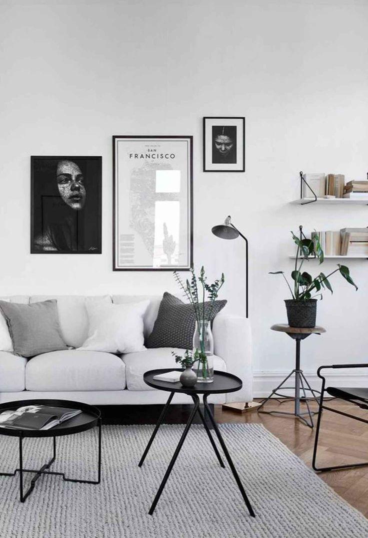 Salón en blanco y negro - estilo nórdico