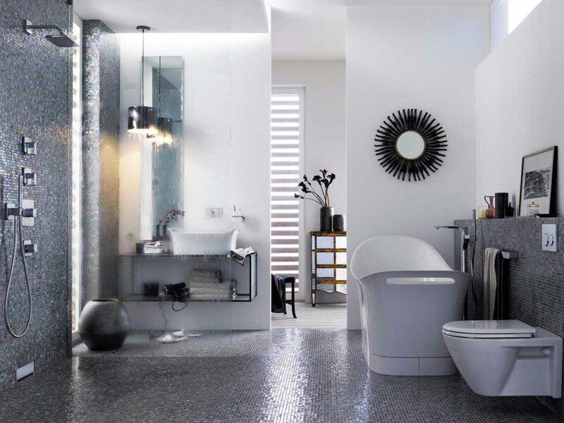 Baños modernos en colores oscuros