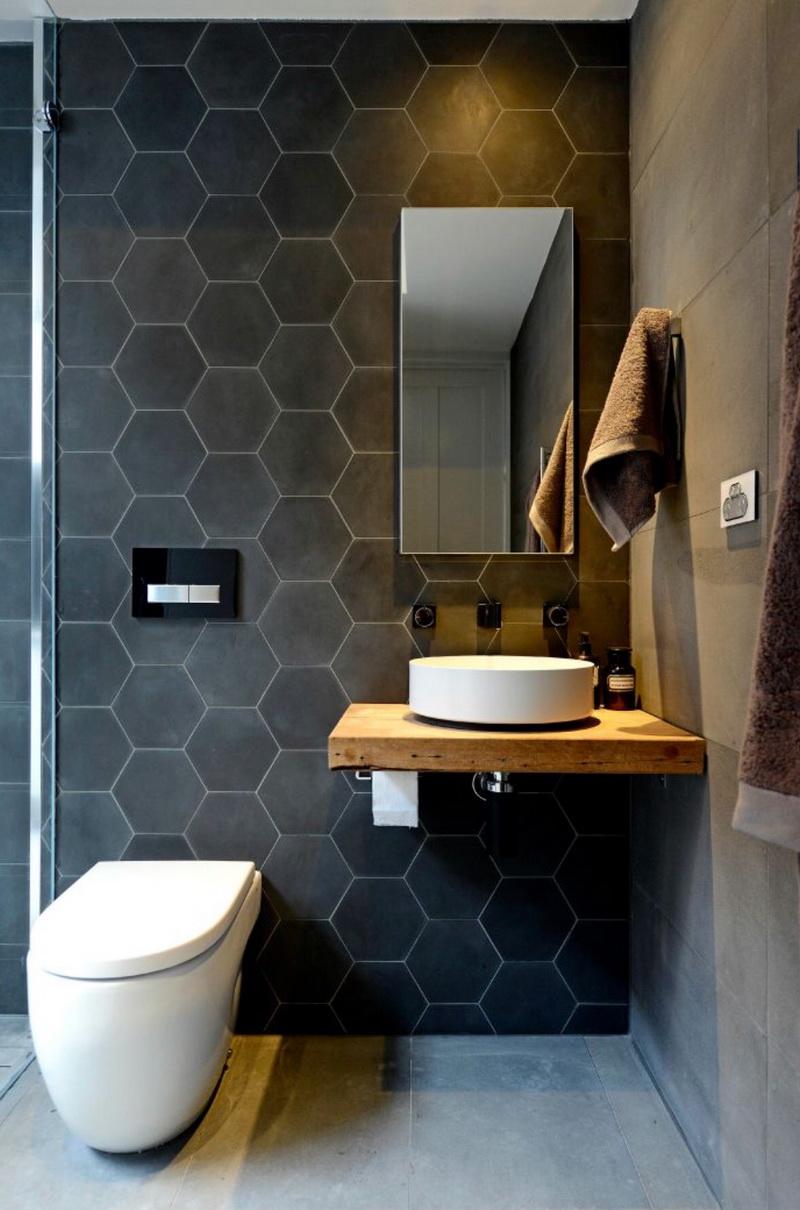 Baños modernos con azulejos exagonales