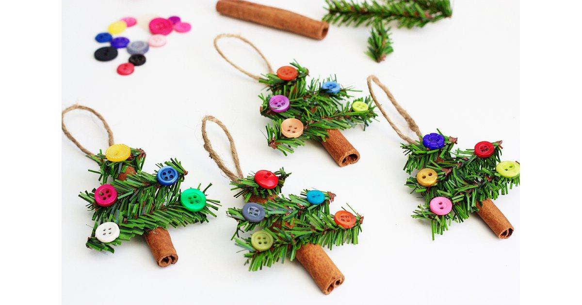 Manualidades de Navidad - adornos con botones y canela